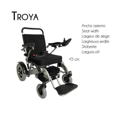 Silla de ruedas eléctrica con motor, plegable y ligera, Auton. 17 Km, 24 V | Modelo Troya o Troya Plus