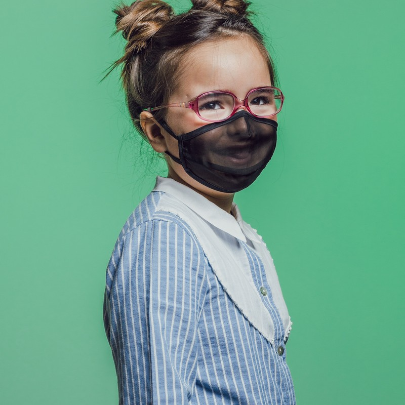mascarilla higiénica semitransparente niños