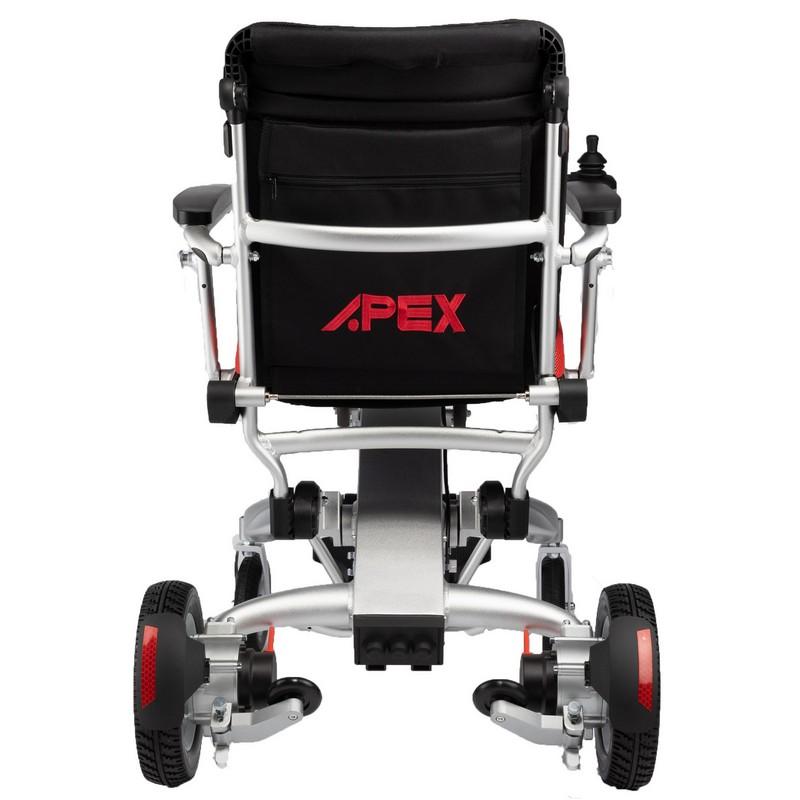parte trasera silla de ruedas eléctrica negra y roja voyager